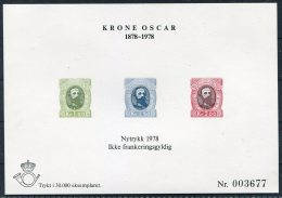 1978 Norway Krone Oscar Nytrykk Sheet - Prove E Ristampe
