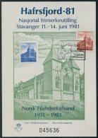 1981 Norway Hafrsfjord '81 Stavanger Kirk National Stamp Exhibition Sheet - Blocks & Sheetlets