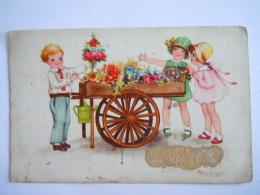 Gelukkig Nieuwjaar Kinderen Bloemenverkoper Enfants Vendeur De Fleurs Gelopen Circulée 1936 HWB Ser 4245 - Nieuwjaar