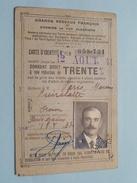 Carte Réduction De TRENTE % Anno 1941 Chemin De Fer Algériens Et Grands Réseaux Français ( Voir Photo ) ! - Titres De Transport