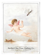 Victorian Trade Card Hartford CT One Price Clothing Cherub Angel With Flying Insect - Trade Cards