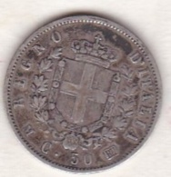 Regno D'Italia .50 Centesimi Stemma 1863 M (Milano). Vittorio Emanuele II, En Argent - 1861-1946 : Regno