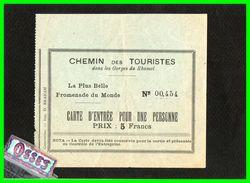 Deux Tickets Promenade Gorges Du Rhumel. (rectos Versos) - Tickets D'entrée