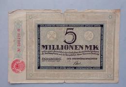 Allemagne -  5 Millionen  Mark DUISBURG 1923 -  Billet De La Période D'inflation - 5 Millionen Mark