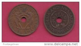 RHODESIA-NYASSALAND, 1956,  1 Penny VF, KM2,  C2866 - Colonies