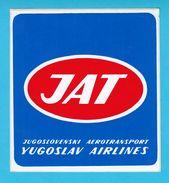 JAT - YUGOSLAV AIRLINES ... Vintage Official Sticker * National Airways * Plane * Avion * No. 5 - Aufkleber