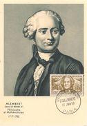 CPA-1959-CARTE PHILATELIQUE-1e JOUR-MATHEMATICIEN Et PHILOSOPHE-ALEMBERT 1717/1783-TBE - Personnages Historiques