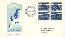 Denmark FDC Lumogen 2-3-1967 In Block Of 4 EFTA With Cachet - FDC