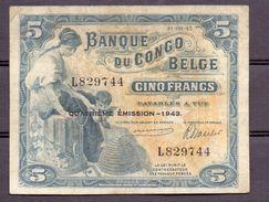 Belgian Congo Kongo  10 Fr 1943 Very  Fine - Billets