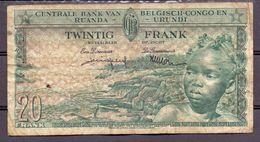 Belgian Congo Kongo  20 Fr 1959 Fine - Billets