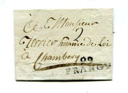 !!! PRIX FIXE : DEPT CONQUIS, 99 LEMAN, MARQUE POSTALE DE FRANGY SUR LETTRE SANS TEXTE - Postmark Collection (Covers)