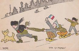 """Illust. GASPARD . Militaria Patriotique Enfants Alsaciens Sur Neige Dont Un Portant Drapeau Français """" Vive La France"""" - Illustrateurs & Photographes"""