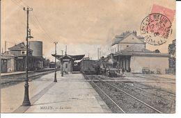 """77 MELUN BELLE CARTE PHOTO 1906 """"TRAIN EN GARE"""" (LOCOMOTIVE) - Stations - Met Treinen"""