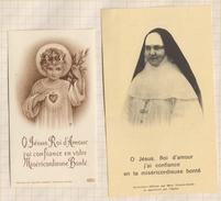 7AJ526  IMAGE PIEUSE RELIGIEUSE LOT 2 IMAGES + COURRIER Concernant MERE YVONNE AIMEE DE JESUS BEAUVAIS 2 SCANS - Devotion Images