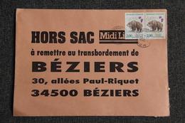 Enveloppe Publicitaire MIDI LIBRE Envoyée , De ST PONS DE THOMIERES à Destination De BEZIERS . - Postmark Collection (Covers)
