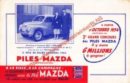 La Pile Mazda - 1953 - 4CV Renault-sport - 20.5x13.5cm Buvard - Automobile