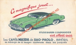 Studebaker Commander - Cafés Masda De Sao-Paolo Brasil Brésil - Buvard 21.5x13cm - Café & Thé
