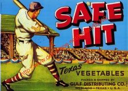 Safe Hit - Texas Vegetables - Gulf Distributing - Weslaco Texas - Label 17.5x12.5cm - Fruit En Groenten