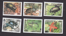 Cambodia, Scott #1931-1936, Mint Hinged, Beetles, Issued 2000 - Cambodia