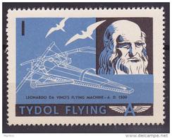 "TYDOL FLYING ""A"" POSTER STAMPS OF 1940  MNH** Leonardo Da Vinci Flying Machine 1500 A.D. - Airplanes"