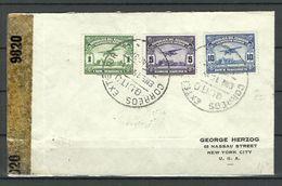 ECUADOR 1944 Censored Air Mail Cover To USA Michel 532 - 534 Air Plane Flugzeug Avion - Equateur
