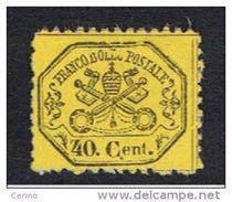 STATO  PONTIFICIO:  1868  STEMMA  -  40 C. GIALLO  LIMONE  S.G. -  SASS. 29 - Stato Pontificio