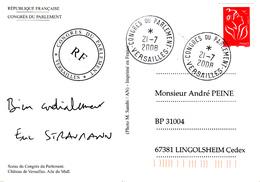 CP Affr Y&T 3734 Obl  CONGRES DU PARLEMENT VERSAILLES Du 21.7.2008 - Sceau Du Congrès Du Parlement - Marcofilie (Brieven)