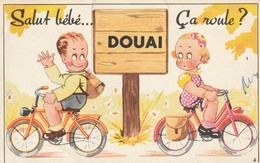 CP Salut Bébé... ça Roule Douai - Carte à Système Sans Le Dépliant - Douai