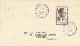 """N°1100 8f Jean Moulin Obl AMBULANT Type 4  """" STRASBOURG A PARIS 1° 7/9/57 """" SEUL Lettre Tarif Imprimé > Etranger - Marcophilie (Lettres)"""