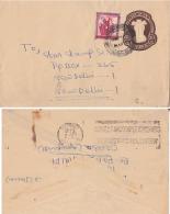 India 1972  JAMI MILIA  B.O.  Refugee Relief Local Handstamp  STAMP  On 20 P  Stationary Envelope #  98933  Inde  Indien - Briefe U. Dokumente