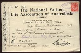 SOUTH AFRICA 1918 AUSTRALASIA INSURANCE CO RECEIPT - Unclassified