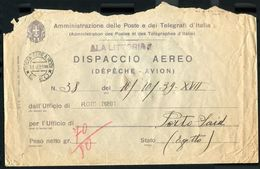 ITALIAN COLONIES RHODES GREECE AIRMAIL LITTORIA EGYPT PALESTINE CENSOR 1939 - Italy