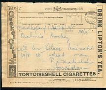 INDIA KING GEORGE FIFTH TELEGRAM TOBACCO TEA OIL GOLF 1926 - India (...-1947)