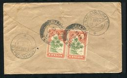 CEYLON 1943 KING GEORGE VI COCONUT PALMS FLAW UNRECORDED COVER - Ceylon (...-1947)