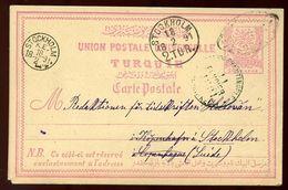 TURKEY 1891 STATIONERY CARD TO SWEDEN - Turkey