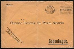 SWITZERLAND UNIVERSAL POSTAL UNION OFFICIAL PO ENVELOPE TO DENMARK 1922 - Switzerland