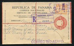 PANAMA STATIONERY REGISTERED BIRD EAGLE GOLD SILVER INDIANA 1929 - Panama