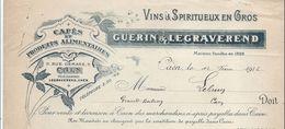 Cafés Et Produits Alimentaires/ Vins Et Spiritueux En Gros / Guerin & Legraverend/ CAEN/ /1916    FACT210 - Alimentaire