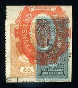 QUEENSLAND STAMP DUTY SUPERB PIECE QV AND KE7 - 1860-1909 Queensland