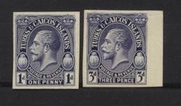 TURKS & CAICOS GEORGE V PLATE PROOFS 1d & 3d - Unclassified
