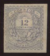 ARGENTINA 1884 12c IMPERF PROOF - Argentina