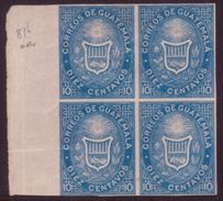 GUATEMALA #3 BLOCK OF 4 IMPERF MINT - Stamps