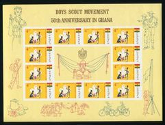 GHANA 50TH ANNIVERSARY SCOUTING AMAZING IMPERF SHEETS - Gold Coast (...-1957)