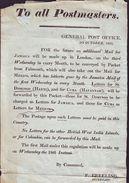 GB POST OFFICE NOTICE 1826 JAMAICA - Old Paper