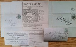 GREAT BRITAIN ADVERTISING LETTER SHEETS PIANO HARMONIUM 1881/4 - Great Britain
