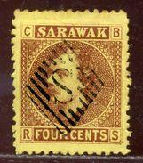 SARAWAK 'S' CANCEL KU CHING 4c - Sarawak (...-1963)
