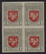 LITHUANIA 1919 1 AUK IMPERF BLOCK OF 4 - Lithuania