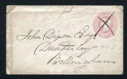 GB STATIONERY VICTORIA CROSS 1d PINK ENVELOPE MANUSCRIPT BELLINGHAM 1862 - 1840-1901 (Victoria)