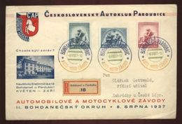 CZECHOSLOVAKIA 1937 COVER CARS/MOTORBIKES 3 COLOR PMK - Czech Republic