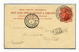 "GB QUEEN VICTORIA 1d POST CARD ""RMS COLUMBA"" - Postmark Collection"